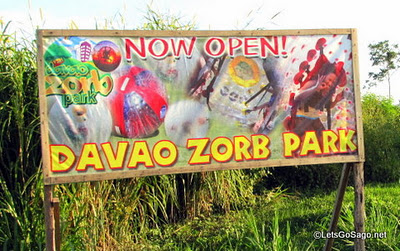 Signage welcoming guests to the Zorb Park